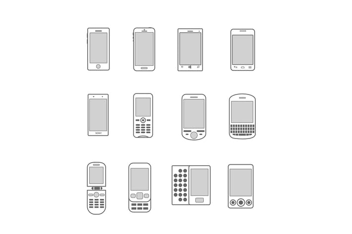 Thumbnail for 12 Mobile Phone Icons