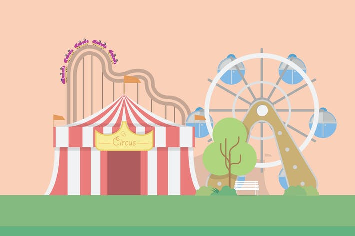 Thumbnail for Amusement Park - Illustration Background
