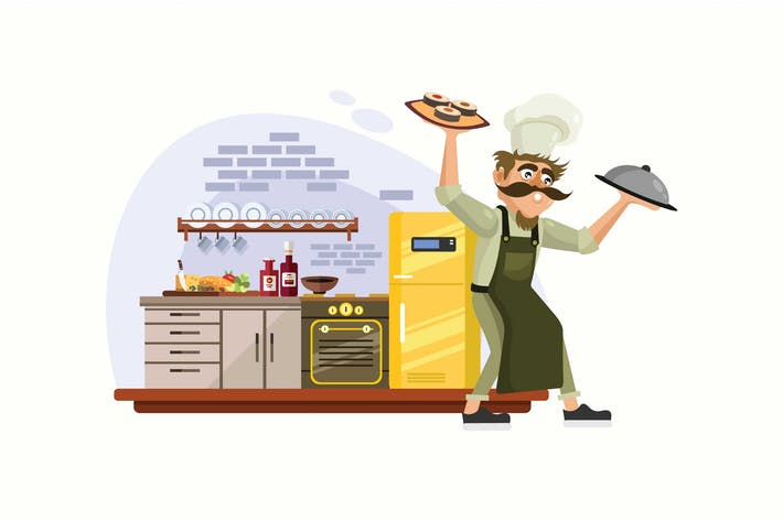 Thumbnail for Chef Cooking in Kitchen Vector Illustration