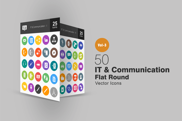 Thumbnail for 50 IT & Communication Flat Round Icons