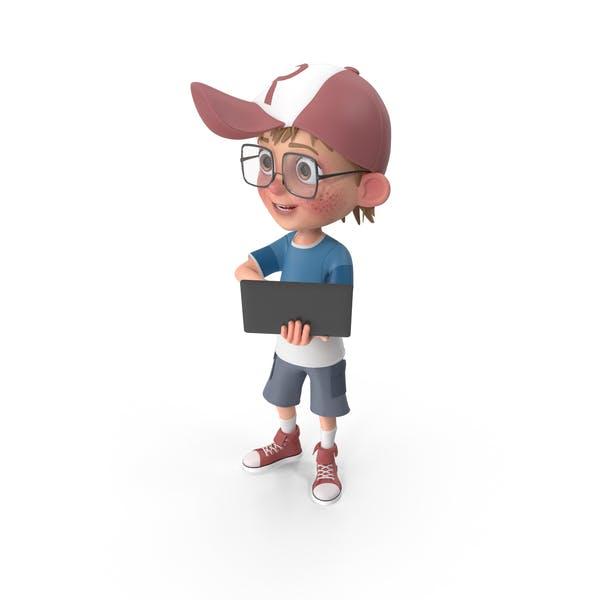 Thumbnail for Cartoon Boy Holding Laptop