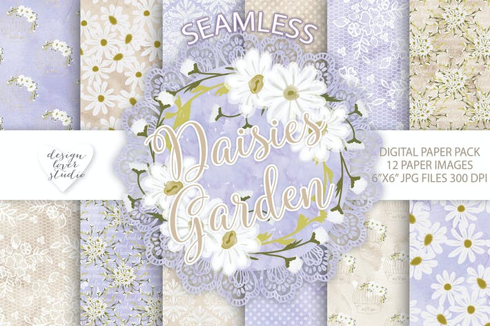 Thumbnail for Watercolor Daisies flowers digital paper pack