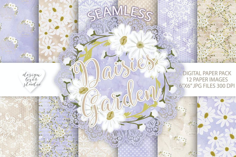 Watercolor Daisies flowers digital paper pack - product preview 0