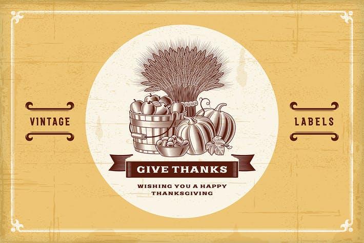 Thumbnail for Vintage Thanksgiving Labels Set