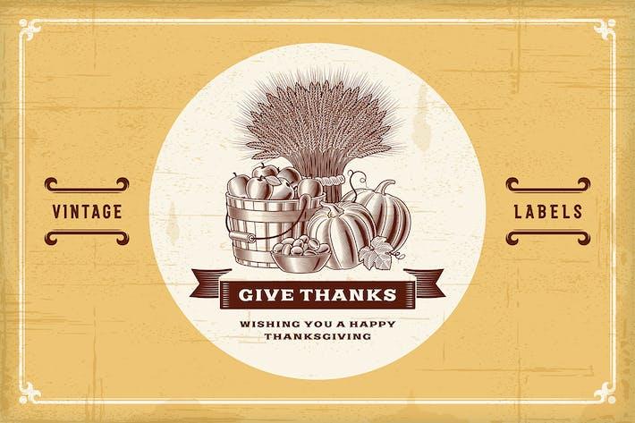 Thumbnail for Lot d'étiquettes Vintage Thanksgiving
