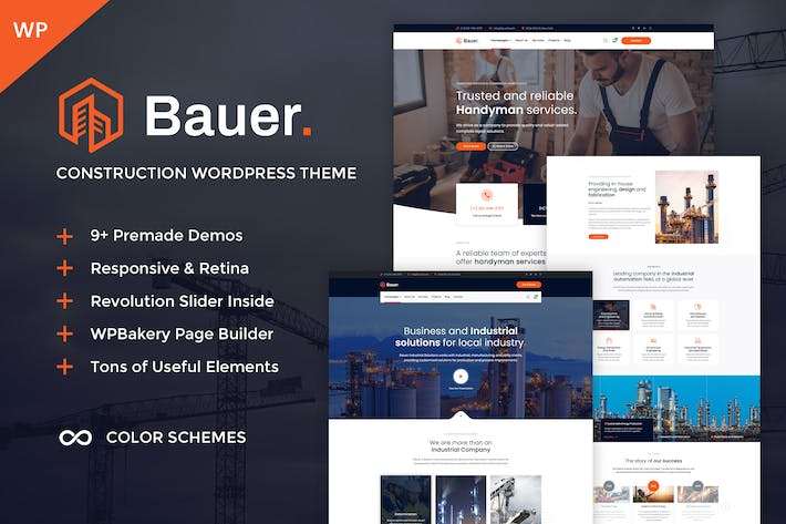 Thumbnail for Bauer - Construction and Industrial WordPress Them