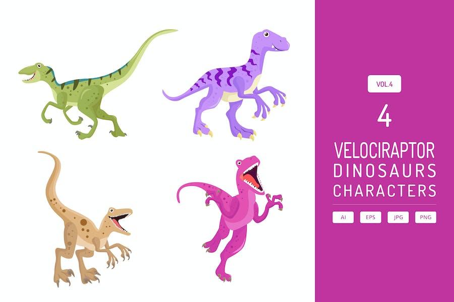 Cute Velociraptor - Dinosaurs Character Vol.4