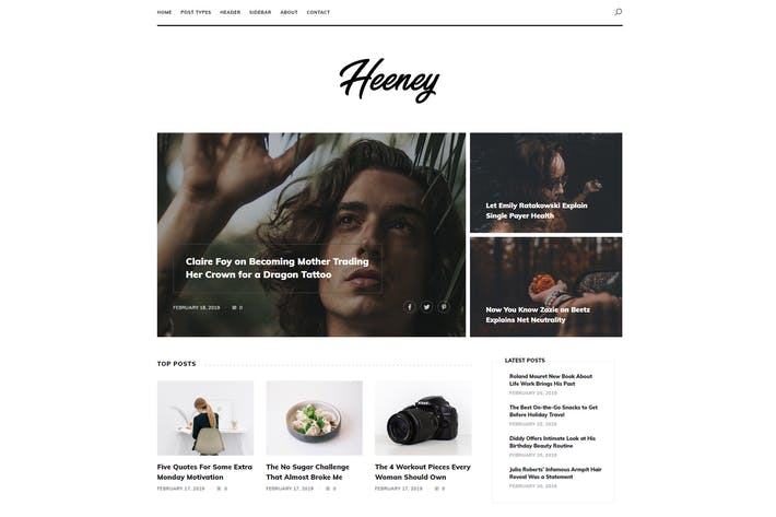 Thumbnail for Heeney - Moderne Blog Modèle HTML5