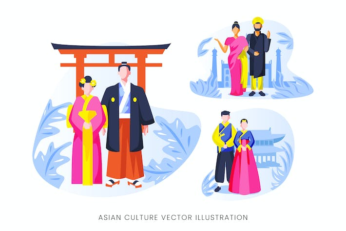 Thumbnail for Asian Culture Vector Character Set
