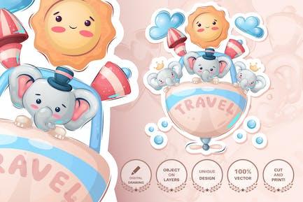Animal personaje de dibujos animados infantiles - amigos de viaje