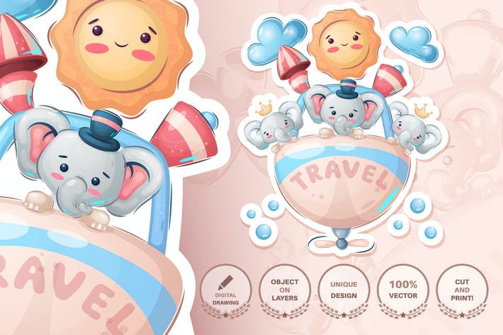 Childish cartoon character animal - travel friends