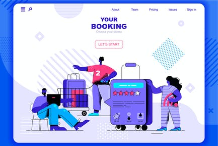 Booking Flat Concept Landing Page Header