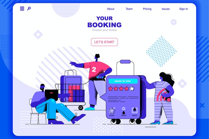 Thumbnail for Booking Flat Concept Landing Page Header