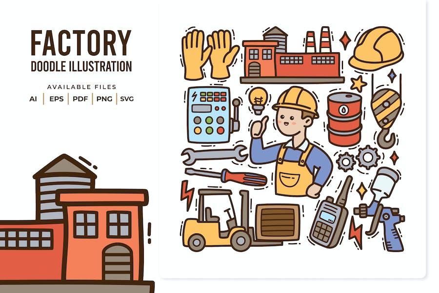 Factory Doodle Illustration