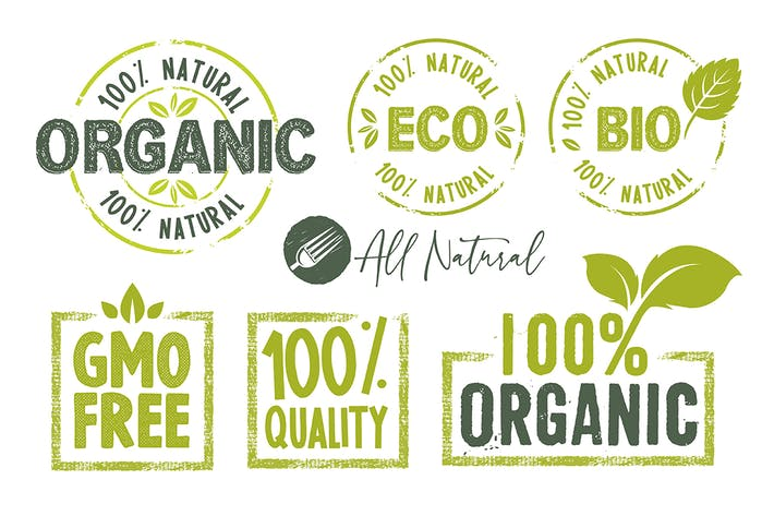 Thumbnail for Organic Food Stickers and Badges Collection