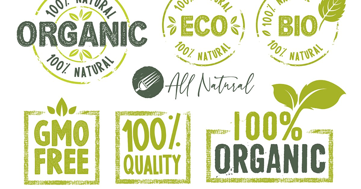 Download Organic Food Stickers and Badges Collection by PureSolution