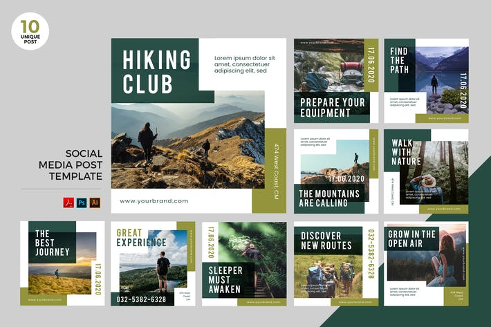 Hiking Club Social Media Kit PSD & AI