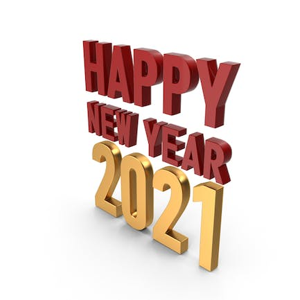 Happy New Year 2021 Symbol Red and Gold