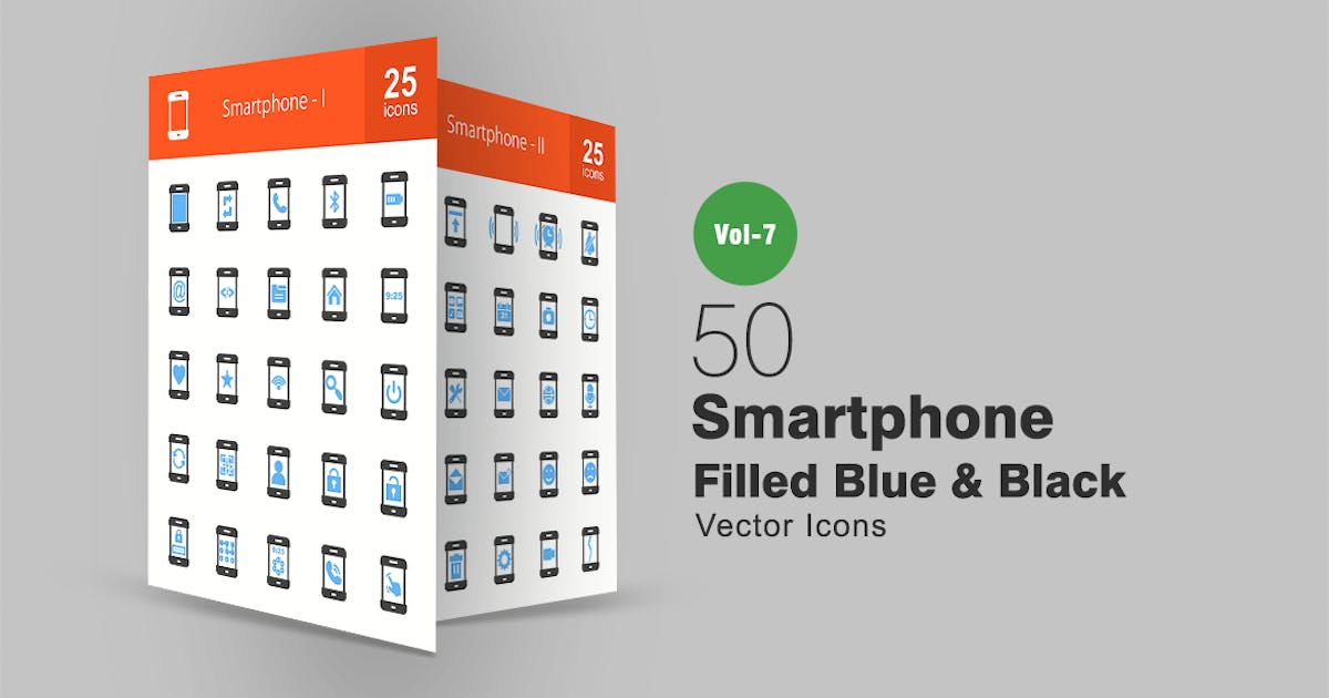 Download 50 Smartphone Blue & Black Icons by IconBunny