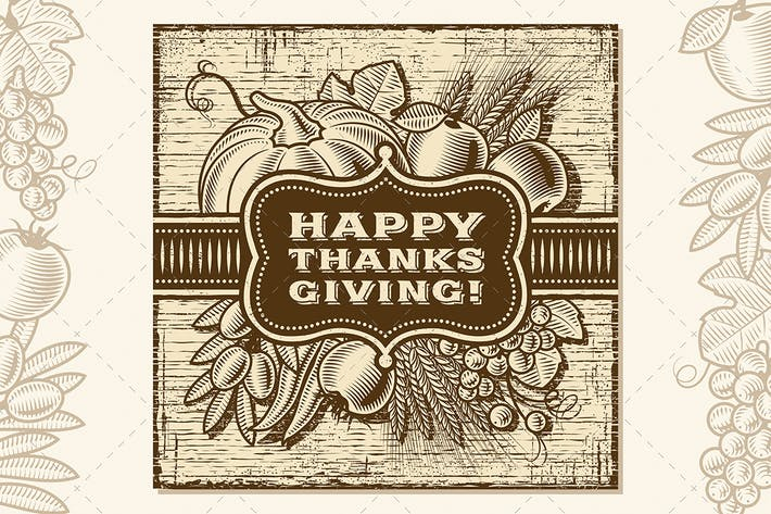 Thumbnail for Happy Thanksgiving Retro Card Brown