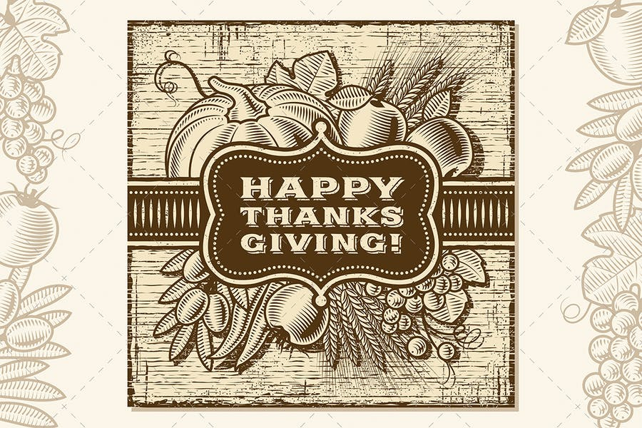 Happy Thanksgiving Retro Card Brown