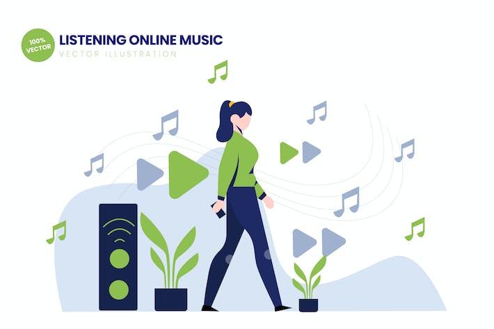 Thumbnail for Listening Online Music Flat Vector Illustration