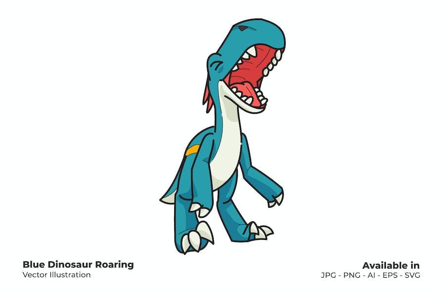 Blue Dinosaur Roaring