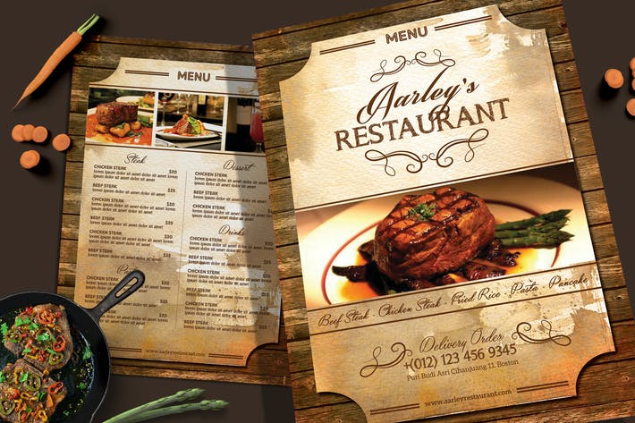 Thumbnail for Vintage Restaurant Menü-Flyer
