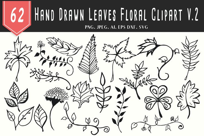 Thumbnail for 60+ Handmade Leaves Floral Clipart V2