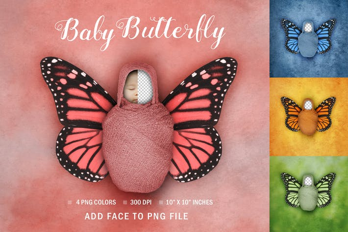 Thumbnail for Newborn Baby Face Swap Digital Butterfly Portrait