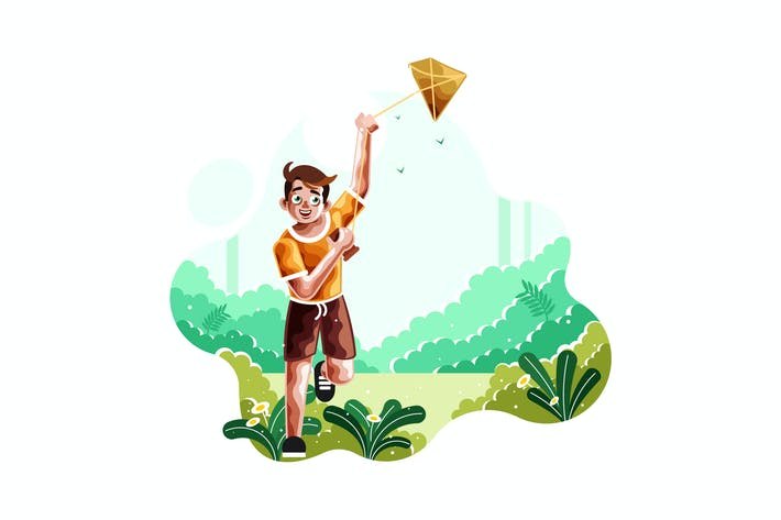 Thumbnail for A boy runs flying a kite illustration