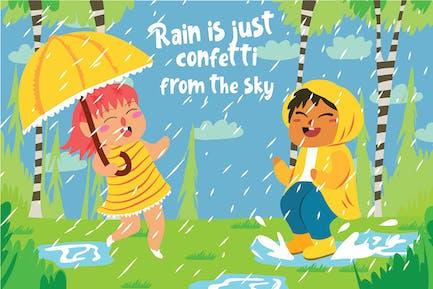 Raining - Vector Illustration