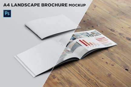 Cover & Open Landscape Brochure Mockup