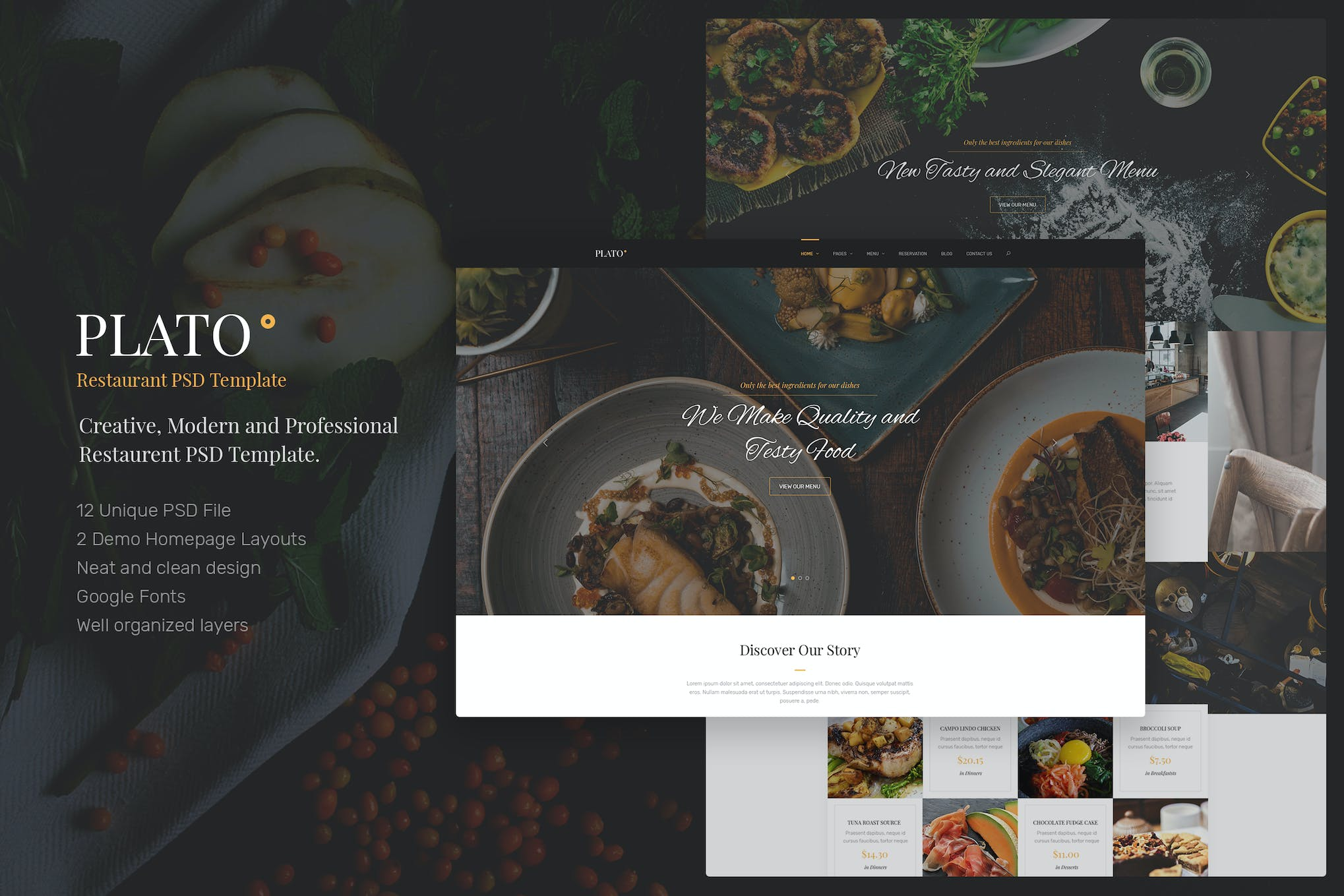 Plato - Restaurant PSD Templates by upifix on Envato Elements