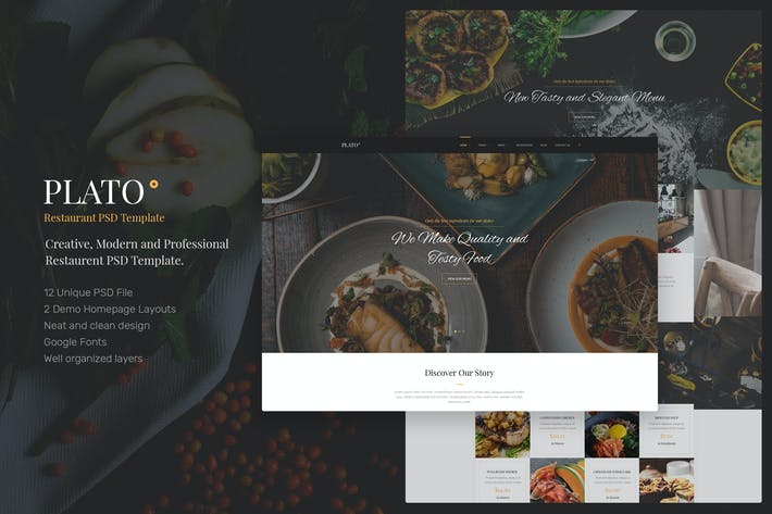 Thumbnail for Plato - Restaurant PSD Templates