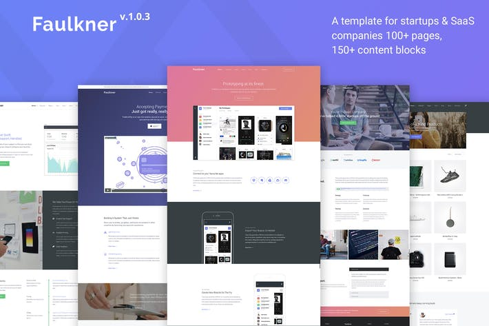 Thumbnail for Faulkner - Multipurpose Template for Startups