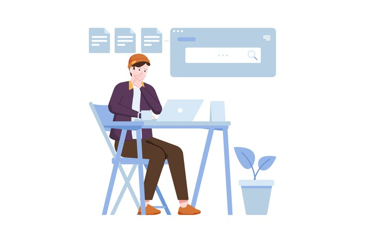 Search Data Flat Illustration