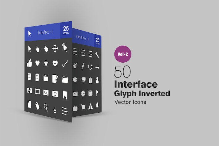 Thumbnail for 50 Interface Glyph Inverted Icons