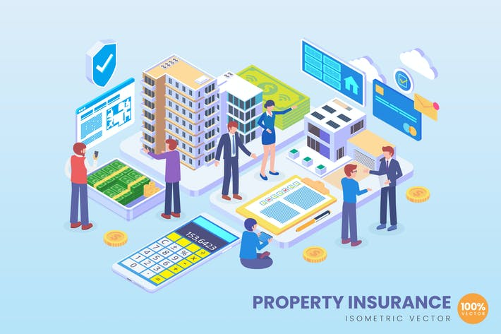 Thumbnail for Isometric Property Insurance Vector Concept