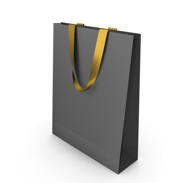 Black Paper Bag with Gold Handles