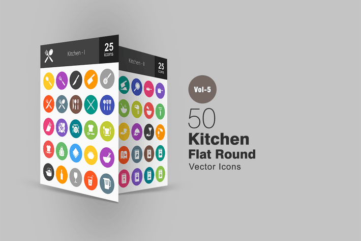 Thumbnail for 50 Kitchen Flat Round Icons
