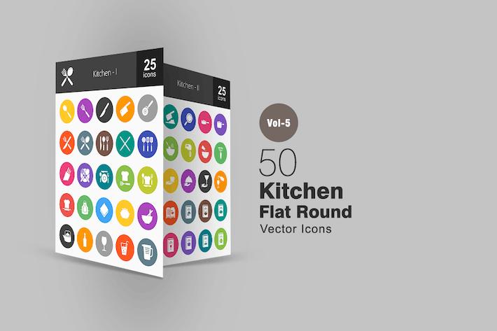 Thumbnail for 50 Kitchen Flat Round Icons
