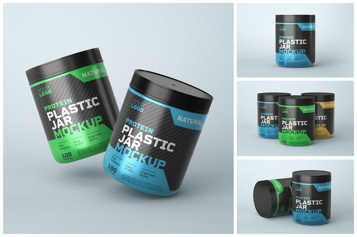 Thumbnail for Food Supplement Plastic Jar Mockup