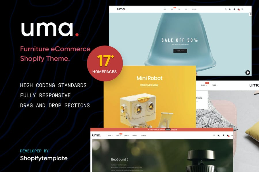 Uma - Minimal Clean Múltiples Shopify Tema