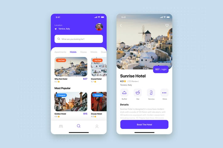 Thumbnail for Travel Booking Mobile App UI Kit Template