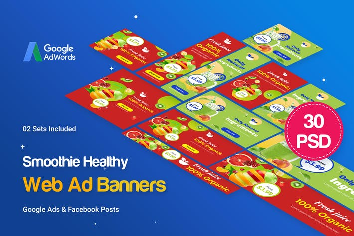 Thumbnail for Smoothie Bar & Healthy Drinks Shop Banners Ad