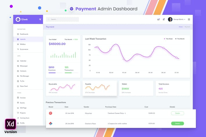 Thumbnail for Payment Admin Dashboard UI Kit (XD)