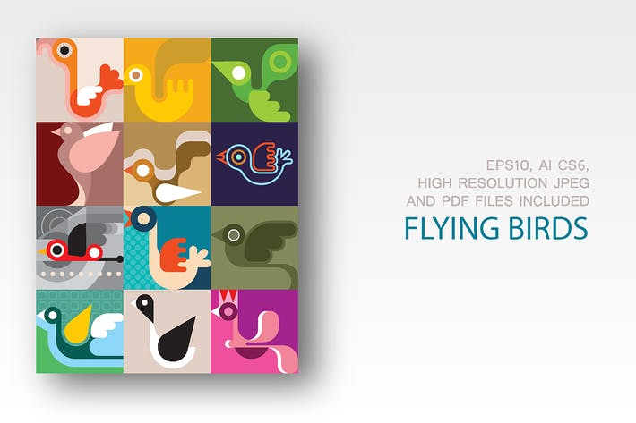 Thumbnail for Flying Birds abstract vector images