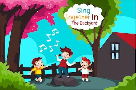 Singing together - Illustration