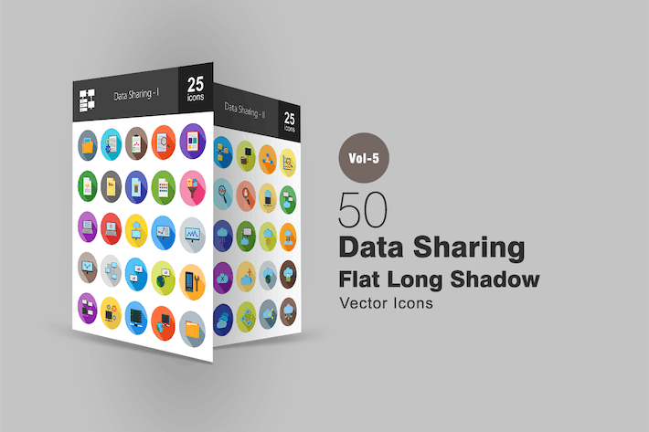 Thumbnail for 50 Data Sharing Flat Shadowed Icons